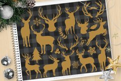 Reindeer Silhouettes, Buffalo Check - Vector Clipart & SVG Product Image 1