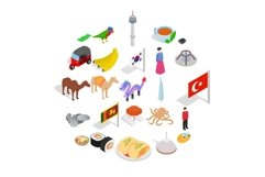 Relax in asia icons set, isometric style Product Image 1