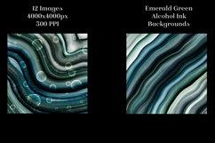 Emerald Green Alcohol Ink Backgrounds - 12 Image Set Product Image 4