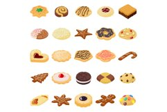 Cookies biscuit icons set, isometric style Product Image 1