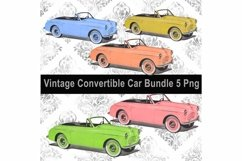 Vintage Convertible Car Bundle, Clip Art, Sublimation PNG Product Image 1