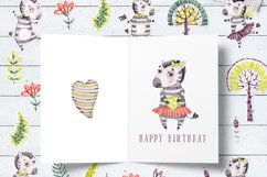 Cute Zebra. Kids horse. Watercolor baby animals clipart Product Image 9