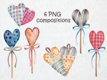 Watercolor set of textile hearts Product Image 4