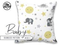 Unisex Elephant Seamless Pattern, Dark-Light Gray, Yellow Product Image 2