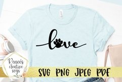 Love With Paw Print | LOVE | SVG Cutting File Product Image 1