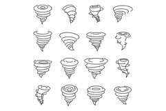 Tornado air icons set, outline style Product Image 1