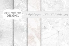 White Marble Digital Paper Pack, Grey Silver Marble Textures Product Image 3