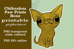 Chihuahua Gold Glitter Printable Sticker SET Product Image 4
