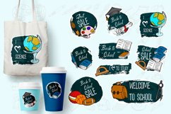 Big set of back to school labels, pins, stickers Product Image 1
