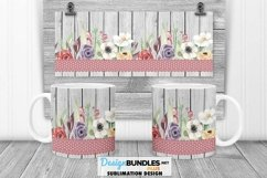 Flowers Barn Wood Ribbon Mug Wrap PNG Sublimation | Mug Wrap Product Image 1