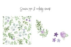 Greenery Lavender Wedding Watercolor Clip Art Illustrations Product Image 3