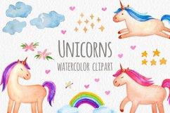 Watercolor Unicorn Set. Seamless Patterns, Clipart Product Image 1