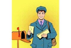 Comics postman holding mail and bag Product Image 1