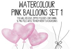 Pink Watercolor Balloon Clipart Set Product Image 5