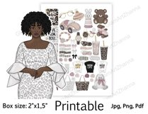 """African American Mom Boss Printable Sticker Box Size 2""""x1,5"""" Product Image 3"""