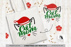 Christmas Cat Mom SVG at Mama SVG Cat in Santa Hat SVG Product Image 2