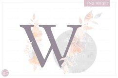 MONOGRAM Letter WElegant Floral Monogram - Flower initials Product Image 2