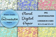 Colorful Floral Digital Paper 8.5x11 & 12x12 included Product Image 1