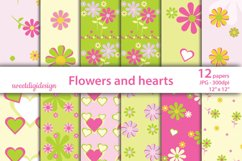 Paper pink flowers decoration digital wallpaper Product Image 1