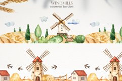 Watercolor Windmills. Cards, frames, wreaths, patterns Product Image 5