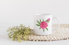 Watercolor Pink Peonies Frames Bouquets Floral Clipart Product Image 5