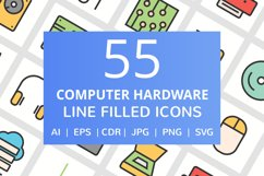 55 Computer & hardware Filled Line Icons Product Image 1