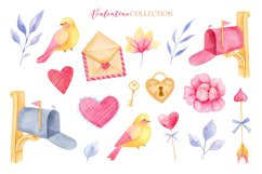 Valentine's day clipart, Bird clipart, Watercolor clipart Product Image 2