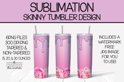 Pink Floral & Glitter Skinny Tumbler Sublimation Template Product Image 1