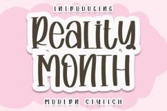 Reality Month - A Modern Handwritten Font Product Image 1