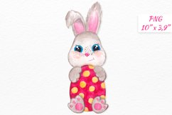 Watercolor Easter bunny clipart Cute little Bunny with egg Product Image 1