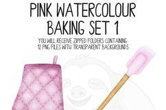 Pink Watercolor Baking Clip Art Set Product Image 3