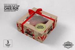 Square Flip Top Cake Box Packaging Mockup Product Image 3