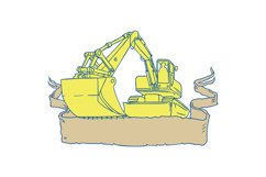 Mechanical Digger Excavator Ribbon Scroll Drawing Product Image 1