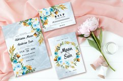 Abstract Blue White Rustic Floral Wedding Invitation Set Product Image 2