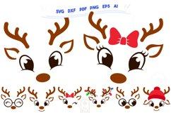 Christmas SVG - Cute Reindeers SVG Chris Bundle Product Image 1