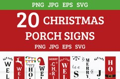 20 Christmas porch signs, Christmas Welcome signs bundle Product Image 2