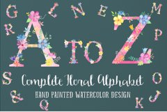 Watercolor floral alphabets, pink floral letters Product Image 4