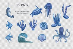 Ocean animals watercolor clipart Product Image 3