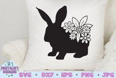 Easter Bunny SVG   Flower SVG  Rabbit SVG Product Image 1