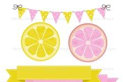 Pink Lemonade Digital Papers and Lemon Clipart Product Image 2