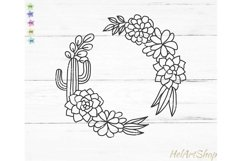 Cactus frame svg, succulent wreath svg, cactus border svg Product Image 1