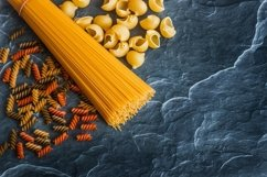 Different types of pasta on a stone Product Image 5