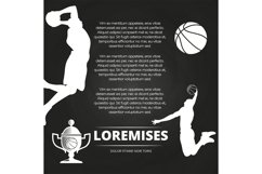 Basketball tournament background with athlete silhouettes, Product Image 1