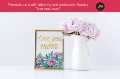 """Premade card """"love you"""" with watercolor flowers. JPG Product Image 4"""