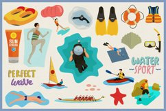 Water Sports Vector Clipart and Seamless Patterns Product Image 2