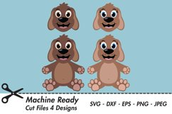Cute Dog SVG Cut Files, PNG dog clipart, happy puppy face Product Image 1