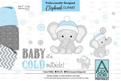 Winter BAbay Elephant, Baby Boy Shower PNG, ClipArt Product Image 1