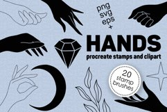 Hands clipart and procreate stamps with logo elements Product Image 1