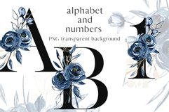 Alphabet, letters and numbers with watercolor blue flowers Product Image 1