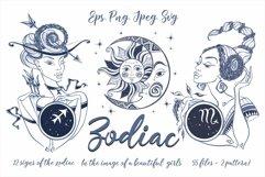 Zodiac. Beautiful girls in the zodiac signs. Digital clipart Product Image 1